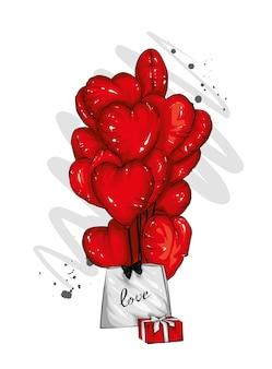 Piękna karta szczęśliwych walentynek z sercami