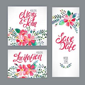 Piękna karta z akwarela kwiatowy wzór. ręcznie rysowana ilustracja