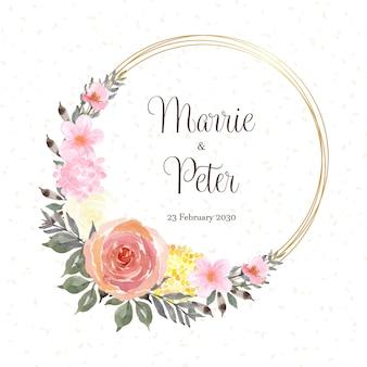 Piękna karta z datą z kolorowym wieńcem kwiatów