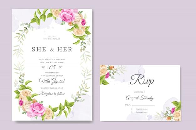 Piękna karta zaproszenie kolorowy szablon kwiatowy i liści