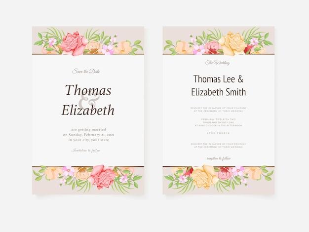 Piękna karta zaproszenie na ślub kwiatowy wektor szablon