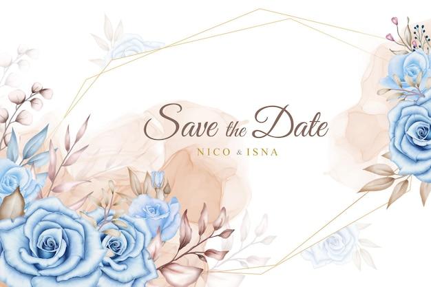 Piękna karta zaproszenie na ślub z akwarelą niebieskich róż