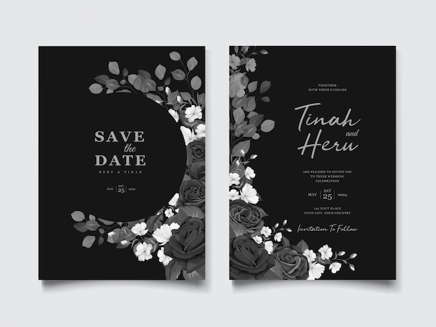 Piękna karta zaproszenie na ślub z czarnym wieniec kwiatowy