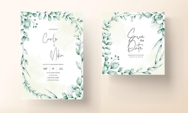 Piękna karta zaproszenie na ślub z dekoracją liści