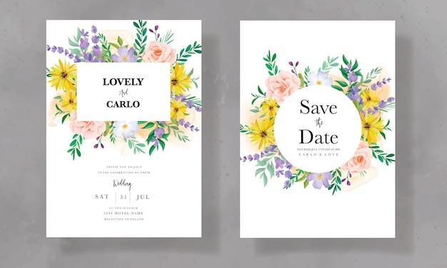 Piękna karta zaproszenie na ślub z dzikim kwiatem