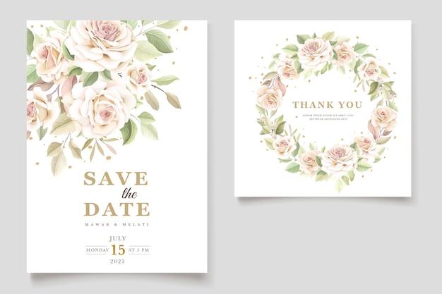 Piękna karta zaproszenie na ślub z eleganckim kwiatowym zestawem