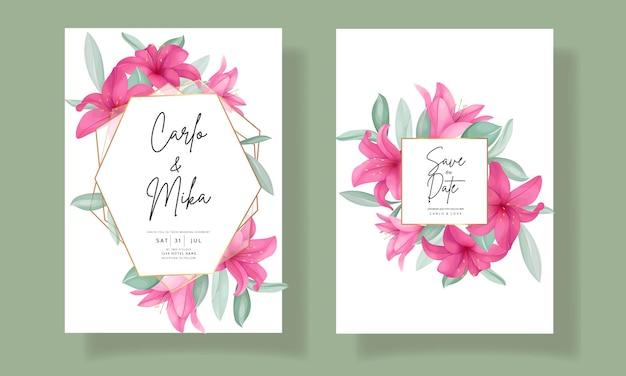 Piękna karta zaproszenie na ślub z eleganckim, ręcznie rysowanym kwiatem lilii