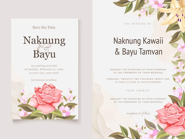 Piękna karta zaproszenie na ślub z kwiatami i liściem