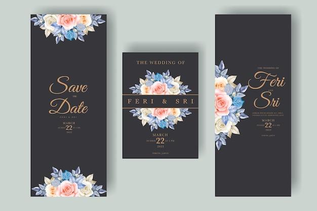 Piękna karta zaproszenie na ślub z kwiatowymi liśćmi akwarela