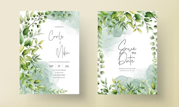 Piękna karta zaproszenie na ślub z liści akwareli z atramentem alkoholowym
