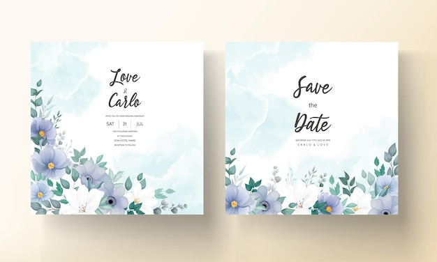 Piękna karta zaproszenie na ślub z niebieskim kwiatem