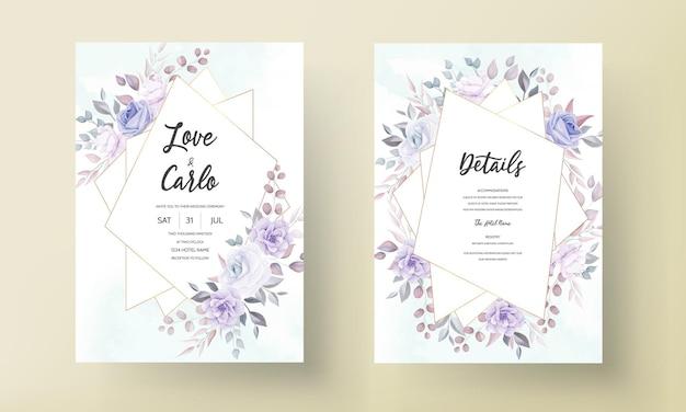 Piękna karta zaproszenie na ślub z ornamentem fioletowy kwiat