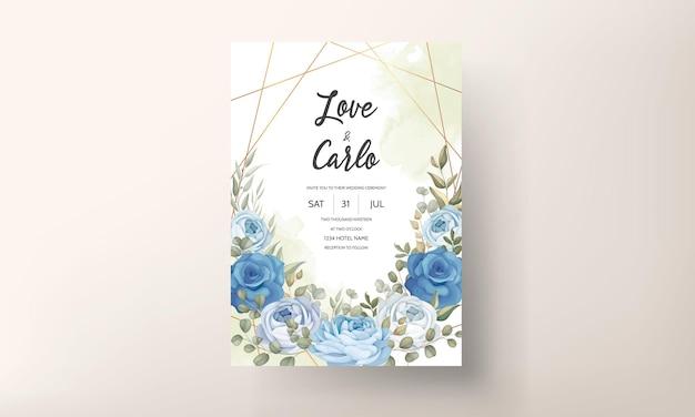 Piękna karta zaproszenie na ślub z ręcznie rysowanymi niebieskimi dekoracjami piwonii