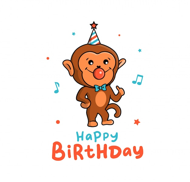Piękna kartka małpy na wakacjach. zabawna postać z kreskówki