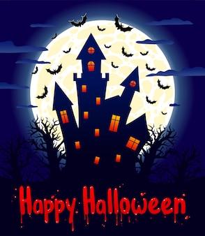Piękna kartka na halloween z przerażającym zamkiem w świetle księżyca