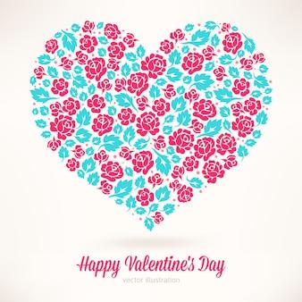 Piękna kartka na walentynki z sercem z różowych róż i turkusowych liści