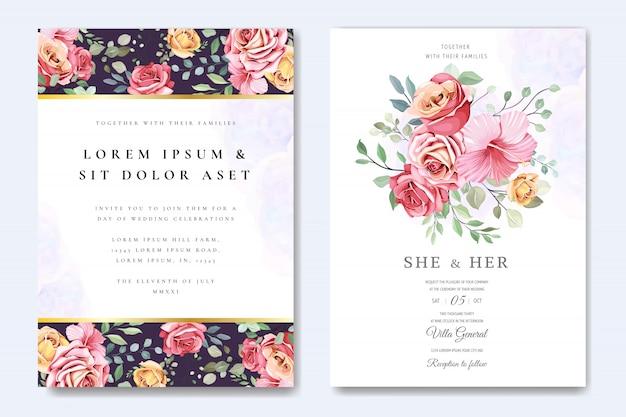 Piękna kartka ślubna w szablonie eleganckich róż