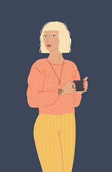 Piękna kobieca postać trzyma filiżankę kawy lub herbaty. płaskie ilustracja na białym tle