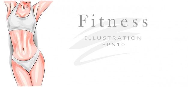 Piękna kobieca sportowa figura. ćwiczenia i zdrowy styl życia. utrata masy ciała i dieta. zdatność.