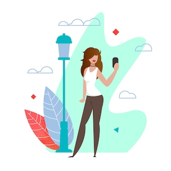 Piękna kobieta biorąc selfie w kreskówka miejski park miejski