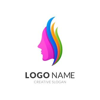 Piękna kobieta i liść logo szablon, nowoczesny styl logo w żywych kolorach gradientu