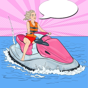 Piękna kobieta, jazda na nartach wodnych