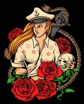 Piękna kobieta kapitan tatuaż z róży i tło zakotwiczenia żeglarskie