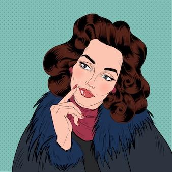 Piękna kobieta komiks stylu pop-artu