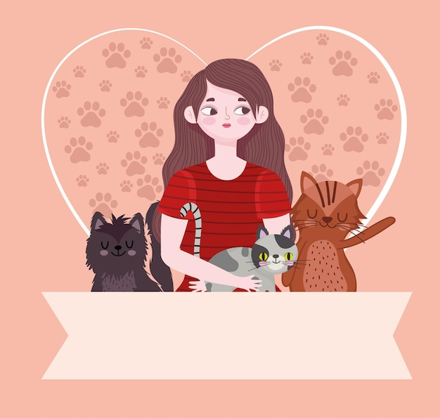 Piękna kobieta kreskówka koty serce z łapy i ilustracja szablon transparent