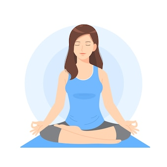 Piękna kobieta kreskówka medytować