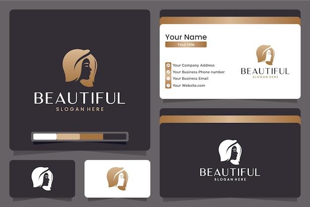 Piękna kobieta logo z sylwetka, złoty kolor, szablon wizytówki