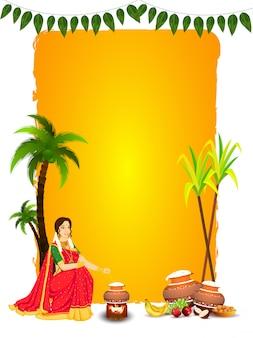 Piękna kobieta mieszająca ryż w glinianym garnku z owocami, indyjskim słodkim (laddu), trzciną cukrową i drzewkiem kokosowym na żółto-białym kolorze dla happy pongal.