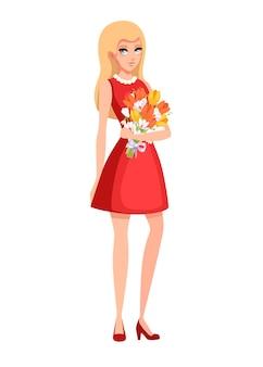 Piękna kobieta nosi czerwoną sukienkę i trzyma bukiet kwiatów