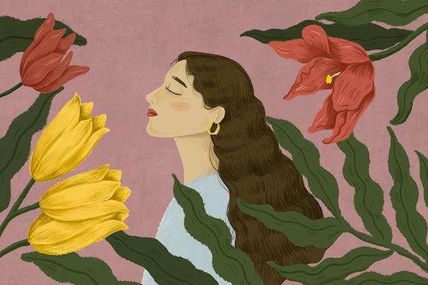 Piękna kobieta otoczona ilustracją natury