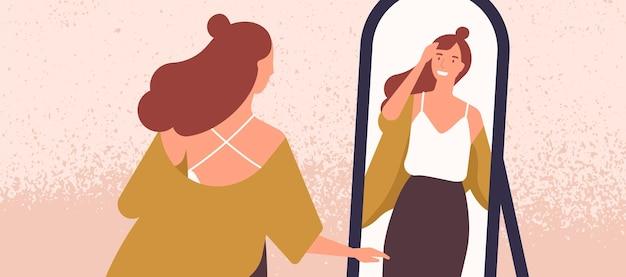 Piękna kobieta, patrząc na ilustracji wektorowych płaskie lustro. koncepcja samoakceptacji i pewności siebie. młoda modna dama odbicie w lustrze. atrakcyjna kobieta preening jej włosy postać z kreskówki.