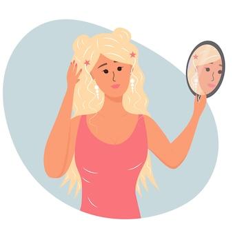 Piękna kobieta patrzy w lustro i podziwia siebie. narcyzm, egoizm, koncepcja miłości własnej. ilustracja wektorowa dla ego, psychologii, koncepcji refleksji.