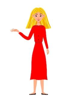 Piękna kobieta pokazuje ręce na boki. styl kreskówki.