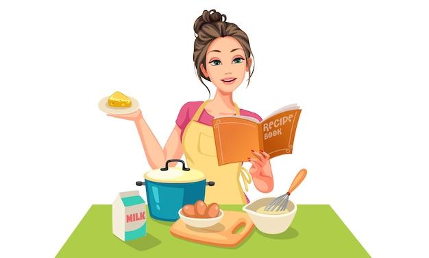 Piękna kobieta robi ilustracja ciasto