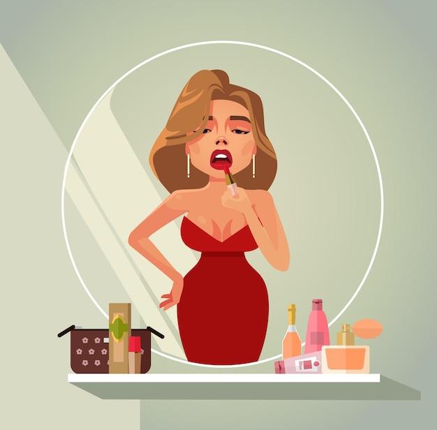 Piękna kobieta robi makijaż do farbowania ust w odbiciu lustrzanym