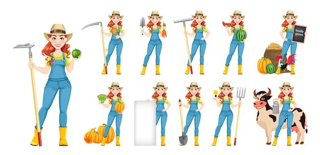 Piękna kobieta rolnik, zestaw jedenastu pozach. cute girl postać z kreskówki rolnika z marchewką, łopatą i motyką. stockowa ilustracja wektorowa na białym tle