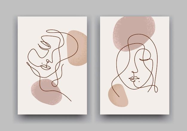 Piękna kobieta rysowanie linii twarzy. abstrakcyjny plakat nowoczesny w minimalistycznym stylu
