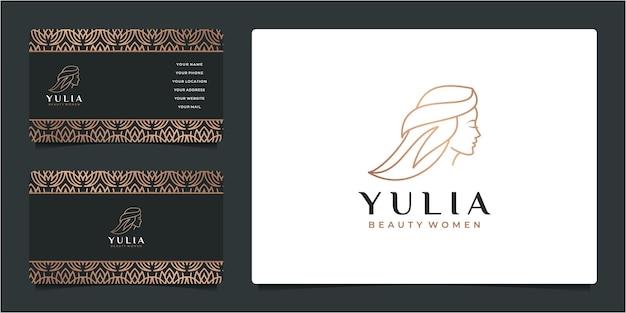 Piękna kobieta salon fryzjerski złoty gradient logo projekt i wizytówkę