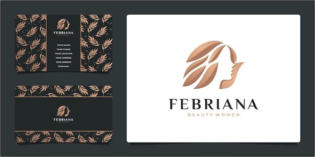 Piękna kobieta salon fryzjerski złoty gradient logo projektowania i wizytówki