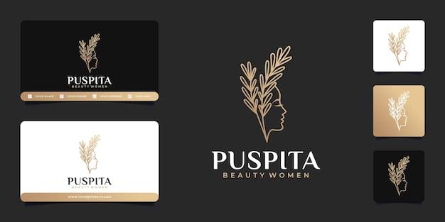 Piękna kobieta salon fryzjerski złoty projekt logo gradientu