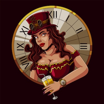 Piękna kobieta steampunk ilustracja