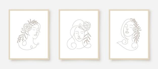 Piękna kobieta stoi w ramce sztuki liniowej kwiatowy