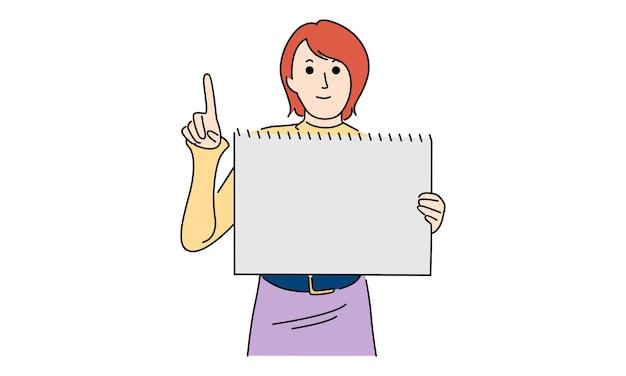 Piękna kobieta trzyma białą deskę