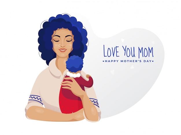 Piękna kobieta trzyma jej dziecko z miłością ty mama tekst