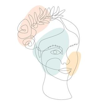 Piękna kobieta twarz z kwiatów róży i liści. ciągły rysunek jednej linii