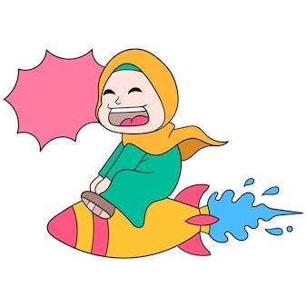 Piękna kobieta ubrana w szczęśliwy uśmiechający się hidżab leci po niebie, jeżdżąc na wyrzutni rakiet, ilustracji wektorowych sztuki. doodle ikona obrazu kawaii.